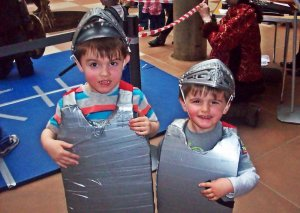 Aiden and Logan all ready to sword fight!
